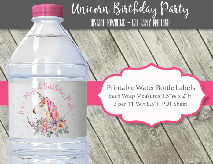 Unicorn Birthday Party Water Bottle Labels
