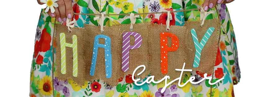 Happy Easter Bunting Facebook Banner