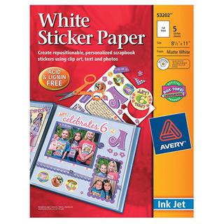 Avery White Sticker Paper