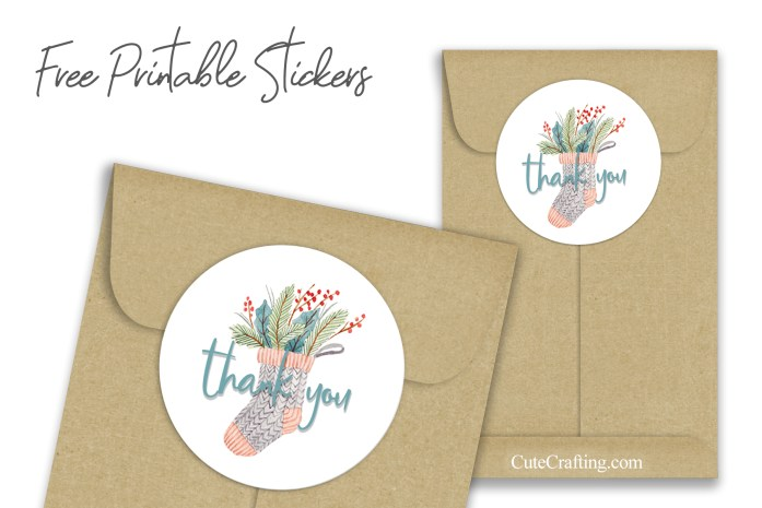 Watercolor Christmas Stocking Thank You Stickers