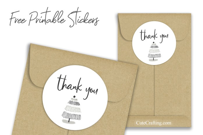 Minimalist Christmas Tree Thank You Sticker
