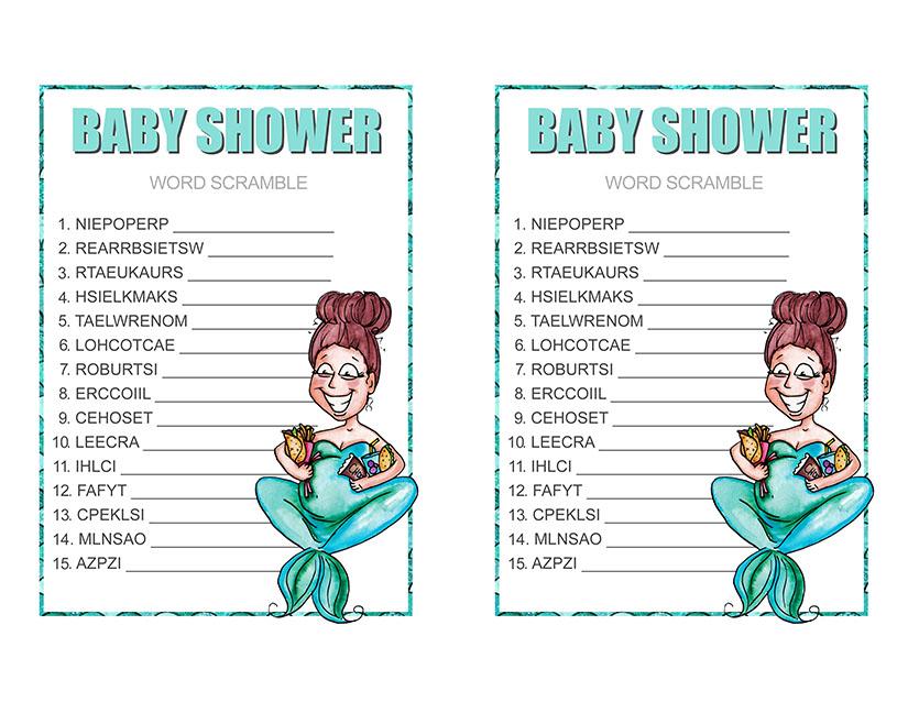 baby shower mermaid word scramble