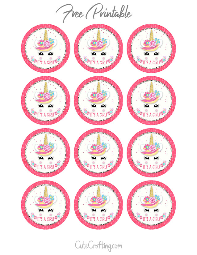 graphic about Unicorn Cupcake Toppers Printable titled Unicorn Boy or girl Shower Printable Cupcake Toppers