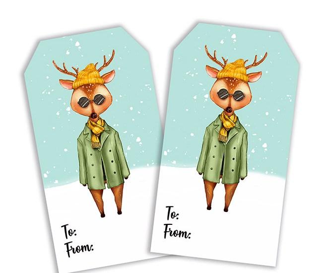 Big City Fashion Hipster Deer Printable Tag