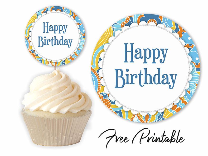 Retro Birthday Party Printable Cupcake Topper