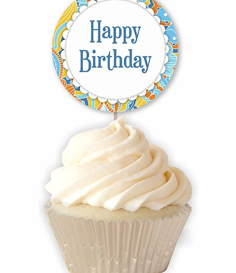 Retro Happy Birthday Printable Cupcake Toppers