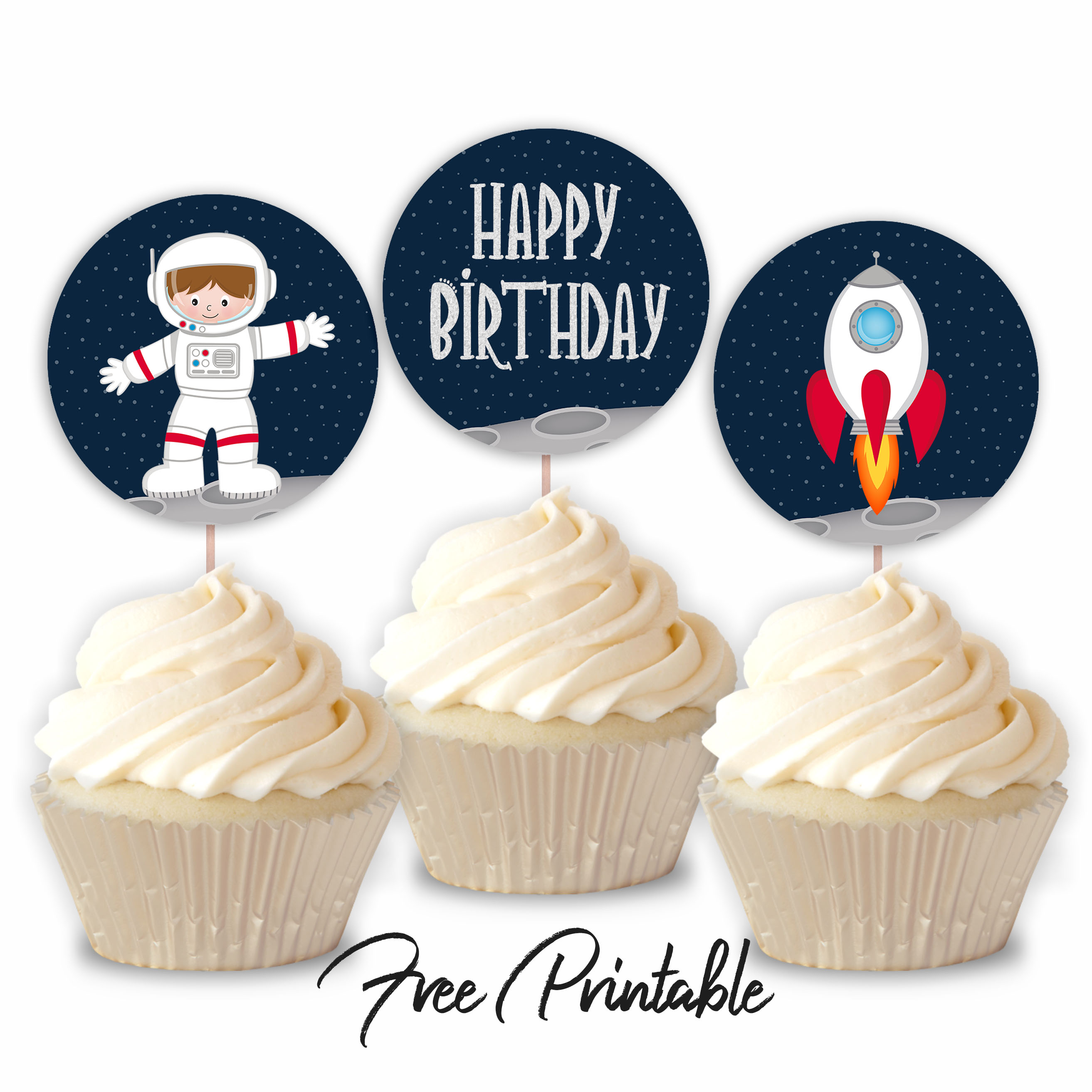 Outer Space Astronaut Spaceship Printable Happy Birthday Cupcake Toppers