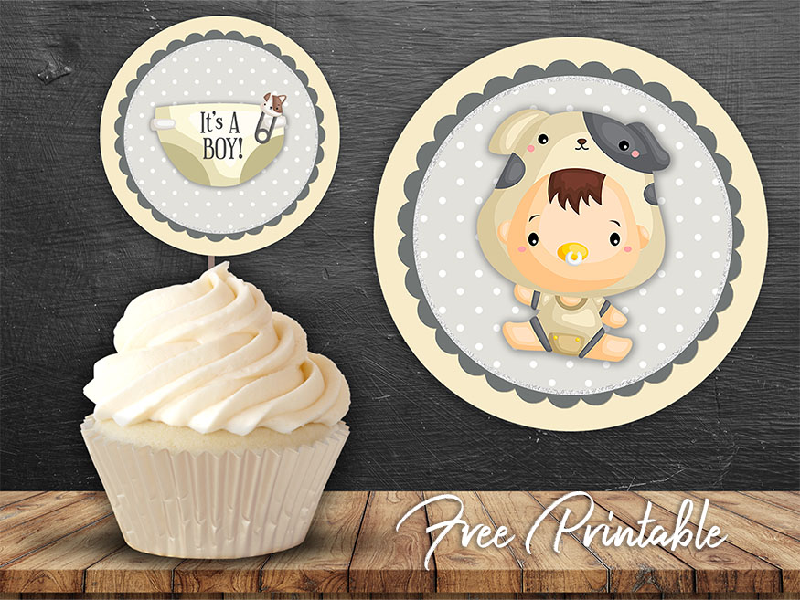 it's a boy baby shower printable cupcake topper
