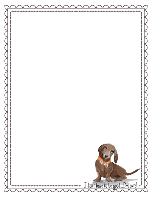 dachshund printable paper stationery