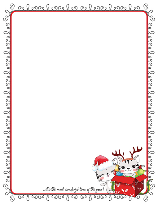 Christmas Kittens Printable Paper Stationery