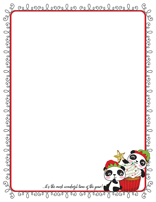 Christmas Panda Cupcake Printable Paper Stationery