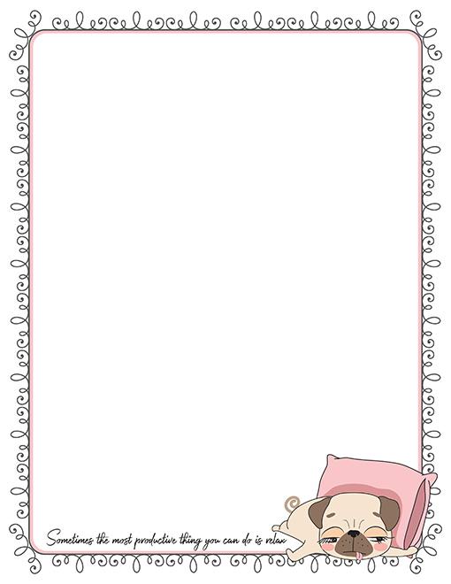 sleepy pug printable paper stationery