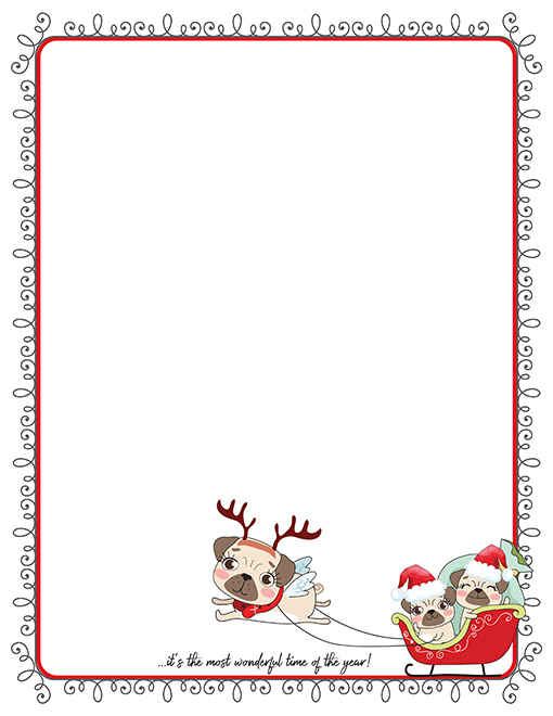 Christmas Pugs In Sleigh Printable Paper Stationery