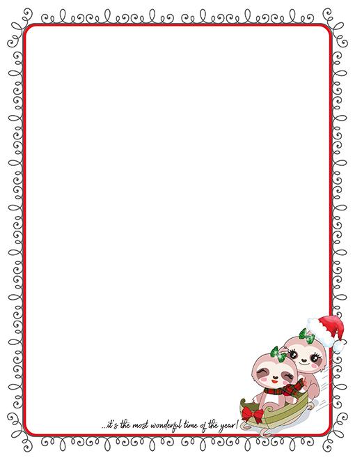 Christmas Sloths Sledding Printable Paper Stationery