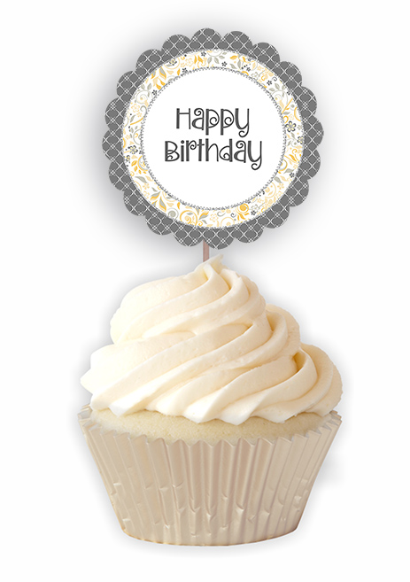 Yellow Grey Birthday Printable