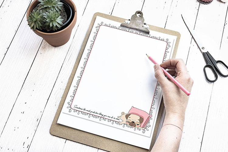 pug printable stationery free download