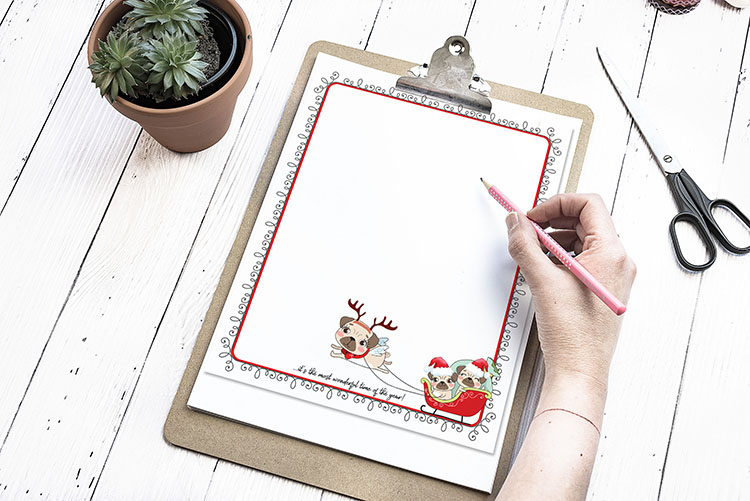 Chrismtas Newsletter Pug Free Printable
