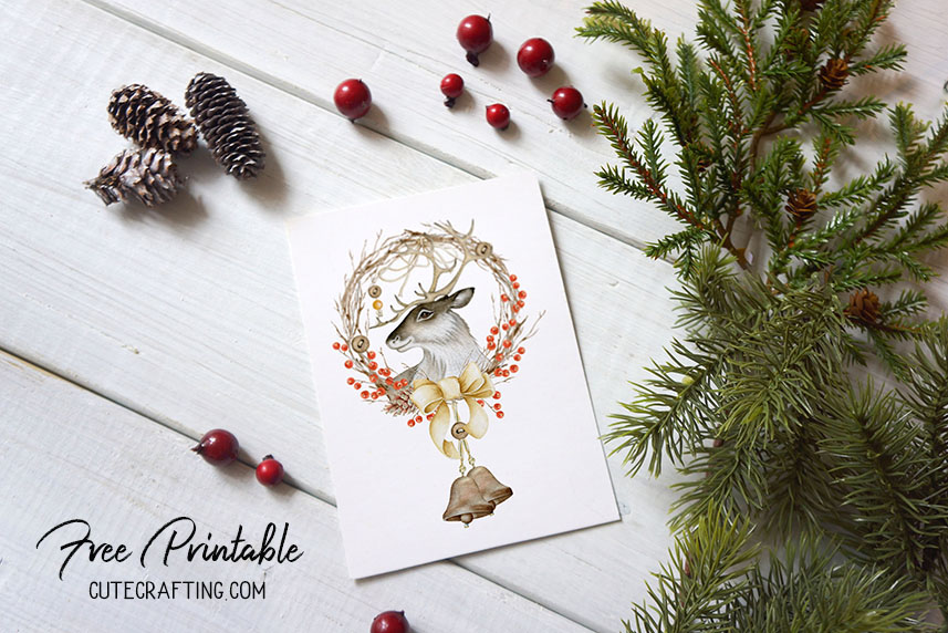 graphic regarding Christmas Wreath Printable called Buck Xmas Wreath Trip Deer Card Printable 5×7