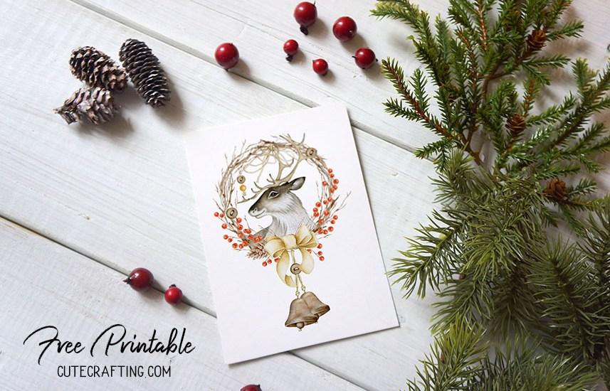 deer card free printable