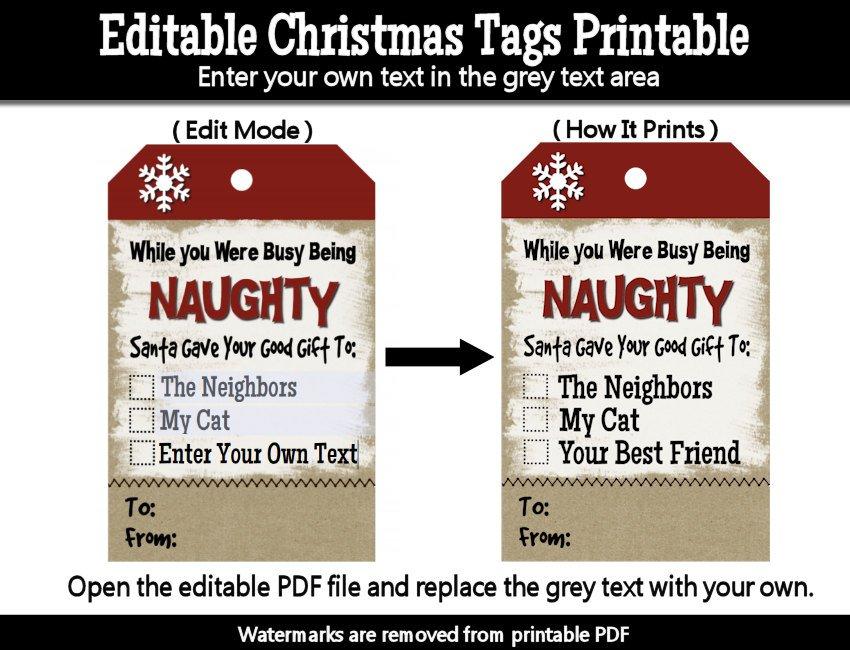 Naughty Christmas Free Printable Gift Tags