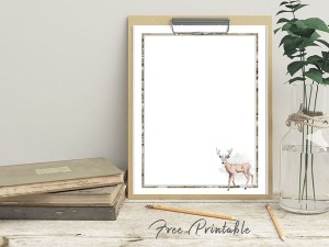Printable Stationery Paper Camo Deer