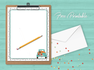 Printable Stationery Paper Page Fall Pumpkin Patch Truck