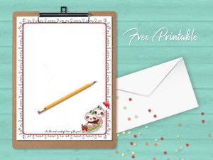 Printable Stationery Paper Christmas Sloth