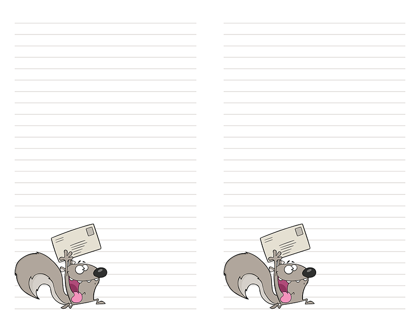 free printable stationery funny squirrel
