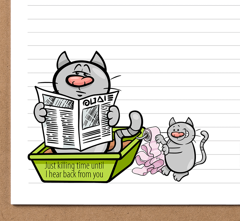 Cat In Litter Box Stationery Printable