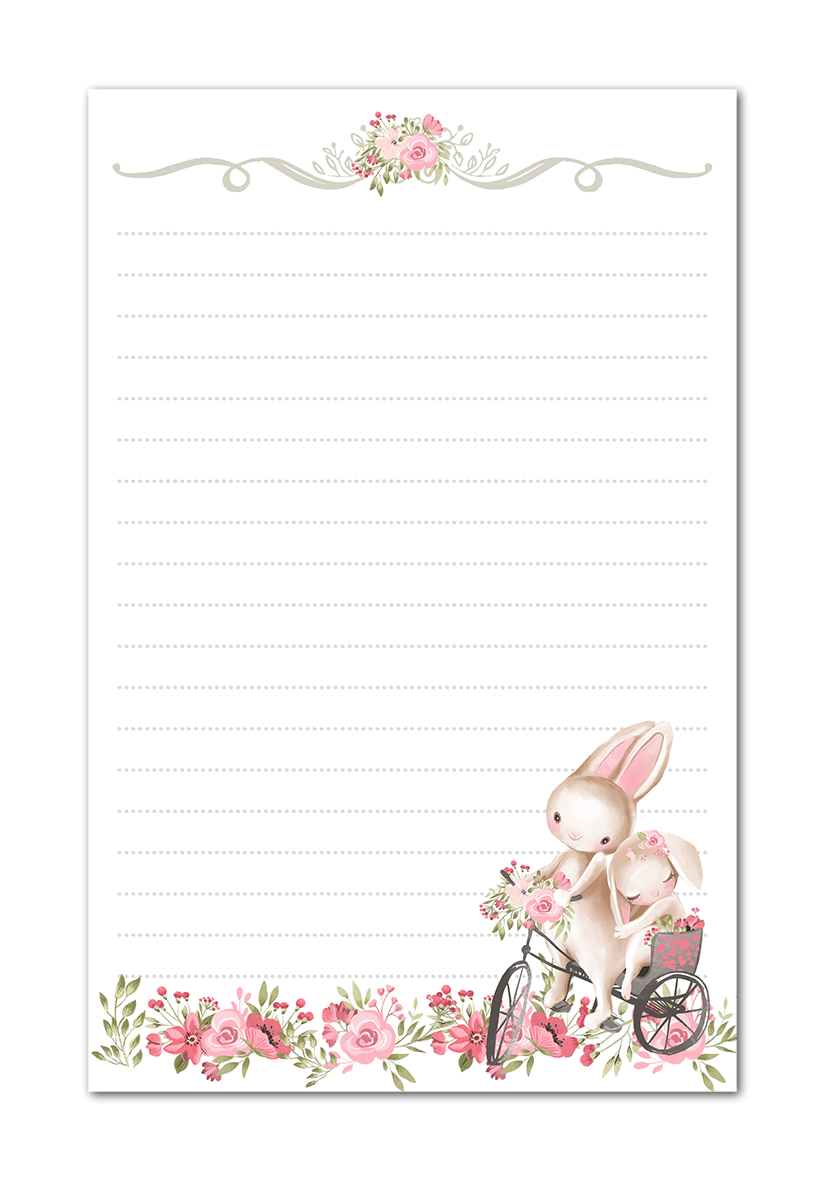 graphic regarding Easter Stationery Printable named Bunny Rabbits Red Bouquets Printable Stationery Watercolor Paper