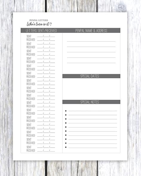 printable pen pal letter tracker