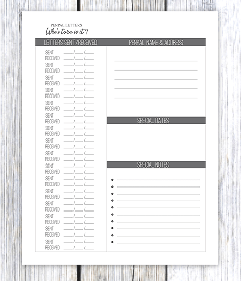printable pen pal letter tracker