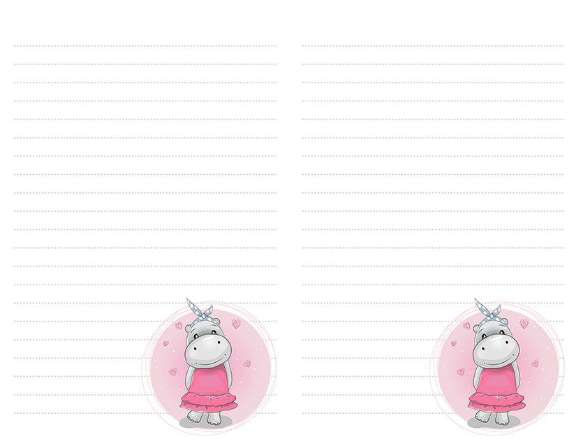 Hippo Girl In Pink Dress Stationery