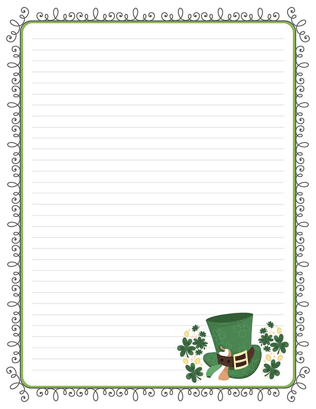 St Patrick's Day Top Hat Stationery