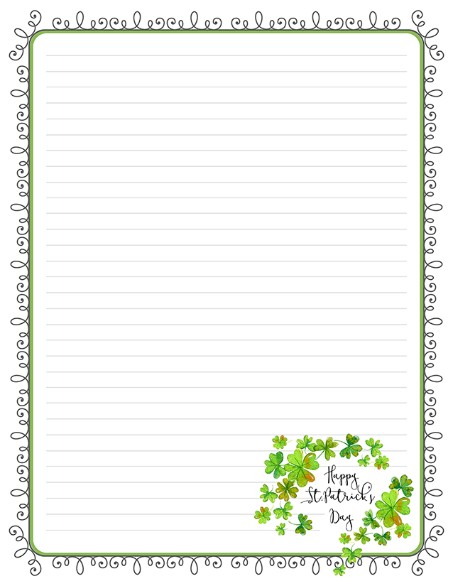 St Patrick's Day Word Art Swag Stationery