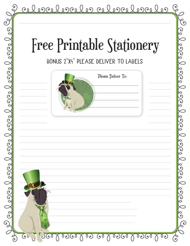 St Patrick's Day Irish Pug Stationery