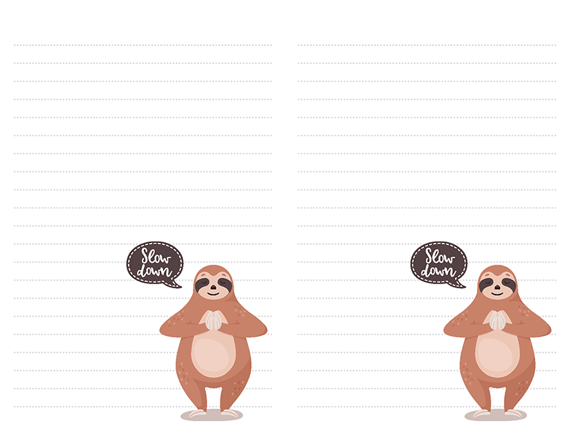 picture regarding Free Printable Stationary Pdf named 23 Sloth Printable Stationery Strategies Totally free Downloads