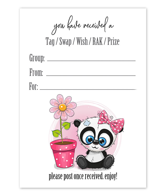 Cute Panda Snail Mail Tag Inserts