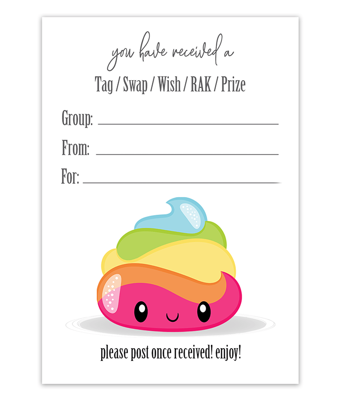 Rainbow Poop Snail Mail Package Inserts