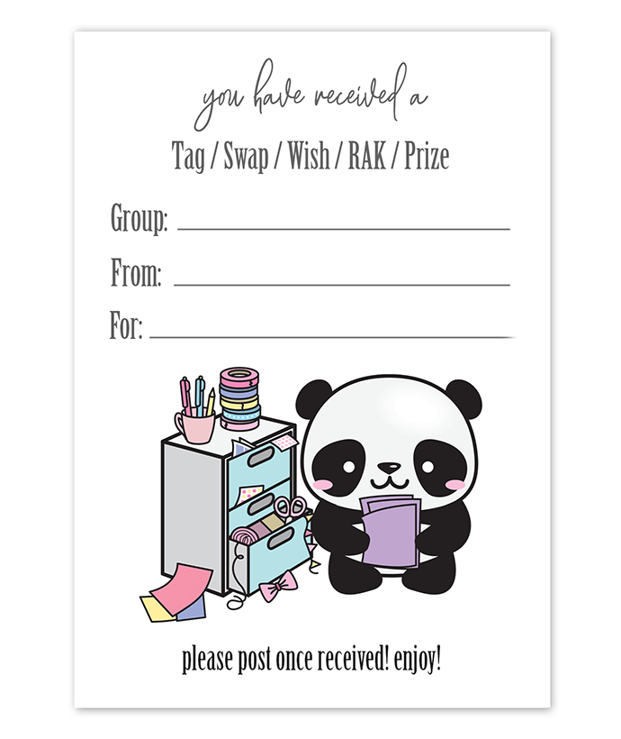 Panda Journal Snail Mail Tag Inserts