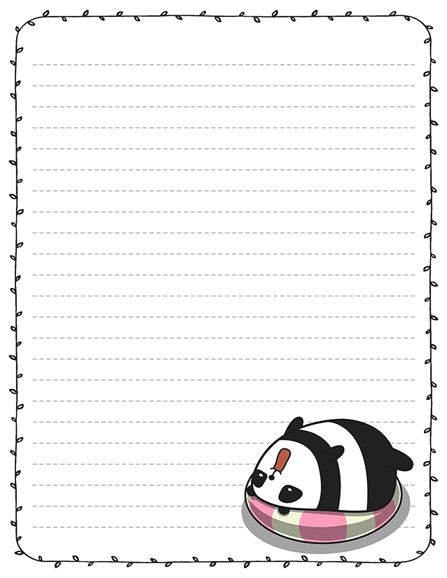 graphic about Free Printable Stationery Paper referred to as Kawaii Lovable Panda Printable Pen Buddy Stationery