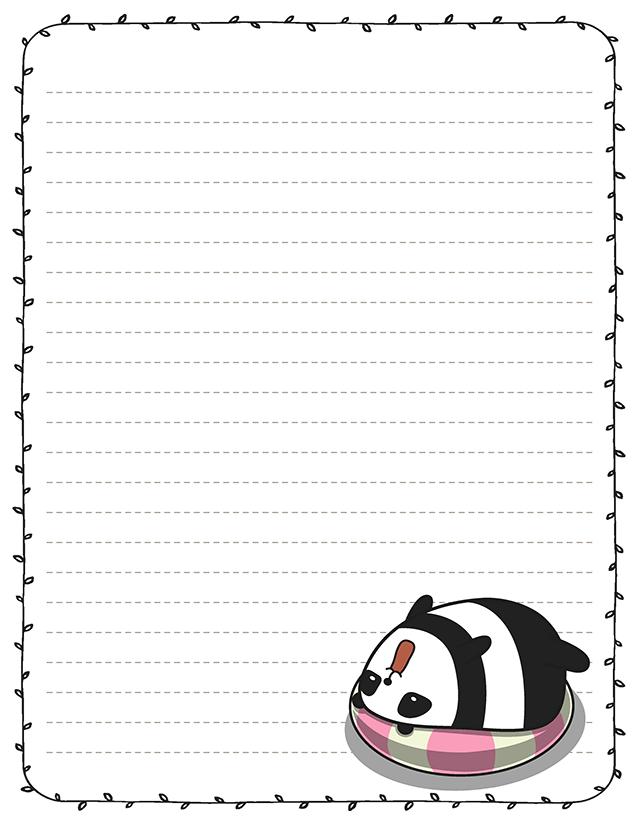 Kawaii panda beach float stationery