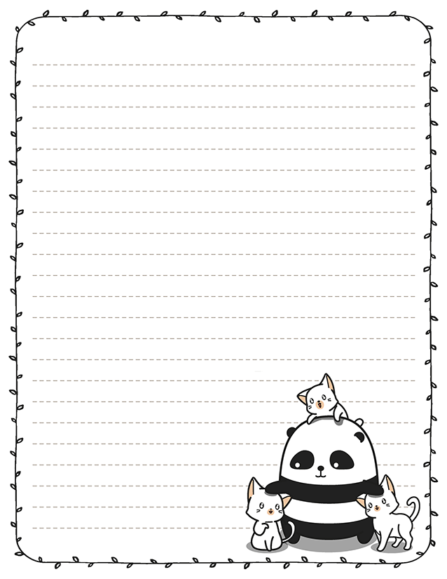 Kawaii Panda 8.5 x 11 Stationery
