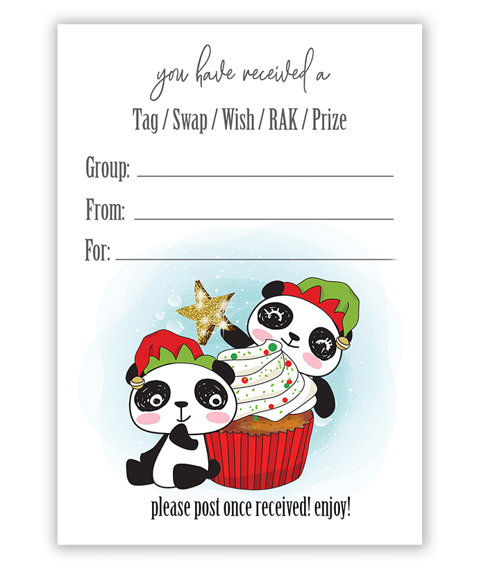 Christmas Panda Bear Pen Pal Swap Tag Inserts