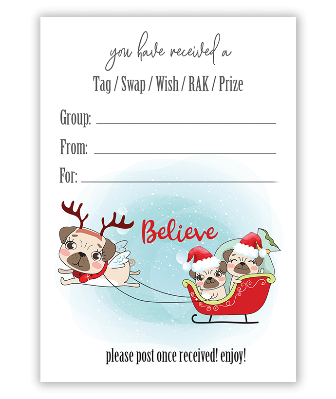 Christmas Pugs Pulling Sleigh Pen Pals Swap Tags Inserts