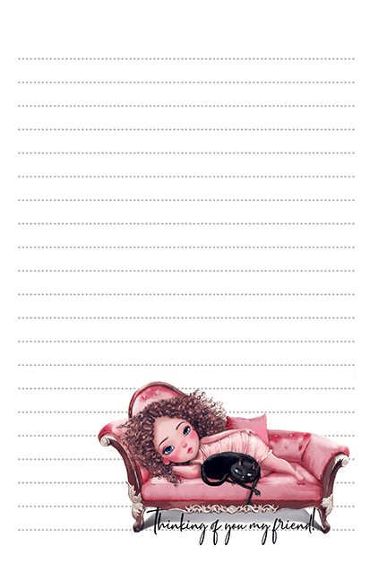 Chilaxing With My Cat Free Stationery Printable