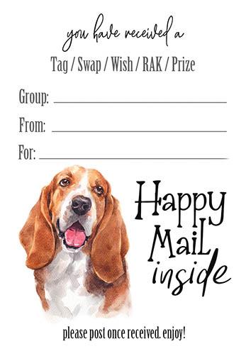 Basset Hound Happy Mail Inside Tag Inserts