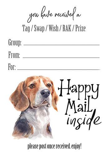 Beagle Happy Mail Inside Tag Inserts