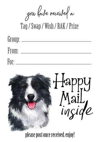 Border Collie Tag Inseerts
