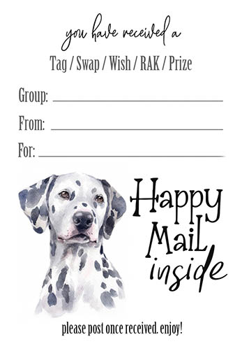 Dalmation Happy Mail Inside Tag Inserts